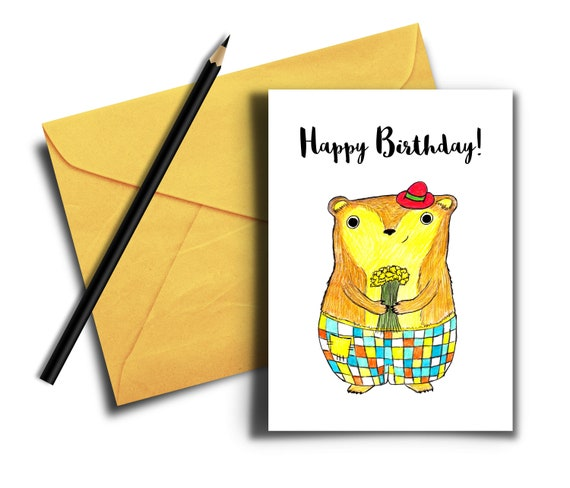 Birthday Card With Cute Bear Printable