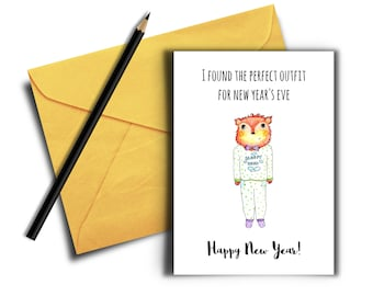 Funny New Years Cards, Printable Card , Digital Download, Funny Pun Card, New Year's Eve Card, Fox in Pajamas, Happy New Year Cards