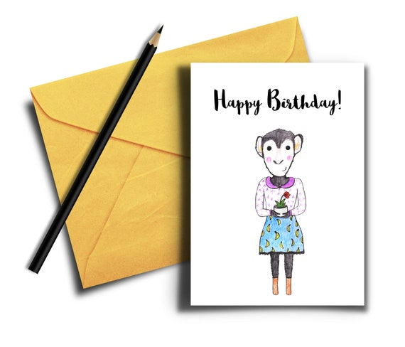 Enjoyable Monkey Birthday Card Cute Happy Birthday Card Birthday Card Etsy Funny Birthday Cards Online Overcheapnameinfo