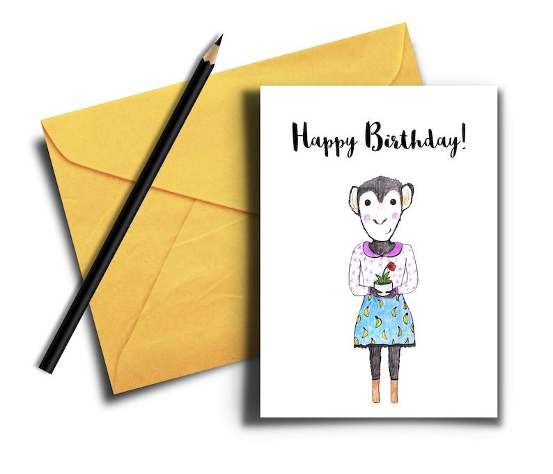 Monkey Birthday Card Cute Happy Birthday Card Birthday Card