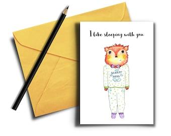 Sexy Card, Funny Naughty Card, I Like Sleeping With You Card, Printable Card, Cute Sexy Card, Digital Download, Animal Card, Sleep Together