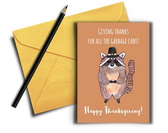 Funny Thanksgiving Cards, Raccoon Pun Card, Happy Thanksgiving Card, Printable Card, Digital Download, Giving Thanks Card, Raccoon with Hat