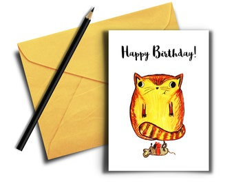 Cat Birthday Card, Funny Cat Card, Printable Birthday Card, Digital Download, Animal Card, Cute Birthday Card, Funny Cat Gifts, for friends