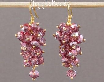 Pink cluster, earrings pink, pink drop earrings, cluster earrings, drop earrings, pink earrings, chandelier earrings, crystal earrings