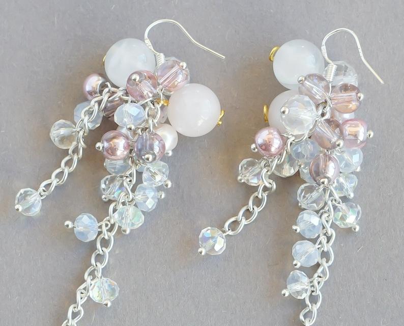 Christmas gift for her blush pink chandelier earrings Agate earrings winter earrings