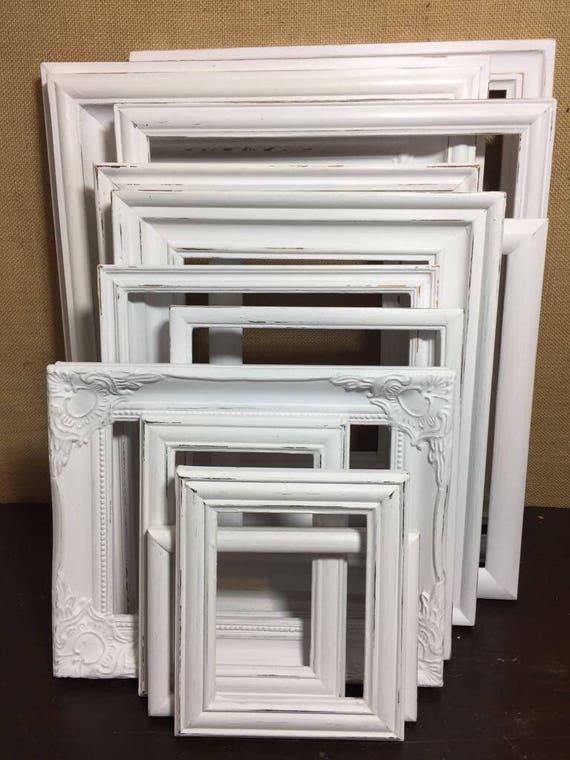 10 WHITE Custom Painted Frames-Shabby Vintage Chic Style | Etsy