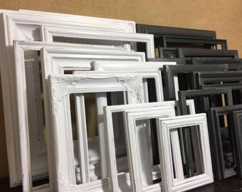 BLACK and/or WHITE Two Custom Painted Frames - Shabby Vintage Chic Frame - With Glass and Backing