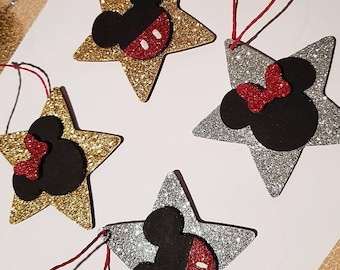two 8cm disney mickey mouse and minnie mouse glitter star christmas tree decorations stars ornament hand decorated gold silver personalised