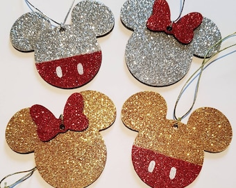 set of 2 8cm personalised disney mickey mouse minnie mouse hand decorated gold silver glitter wooden christmas tree decorations ornament