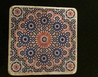 Handmade Moroccan travertine stone coasters