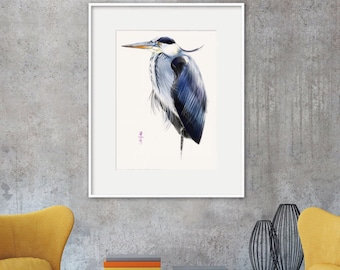 Heron Bird Art print. Wall Art, printable art, Instant Download art by Artmagenta