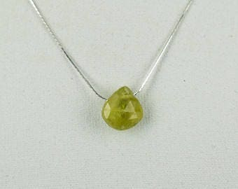 Beautiful Faceted  Peridote Pendant with Silver Necklace