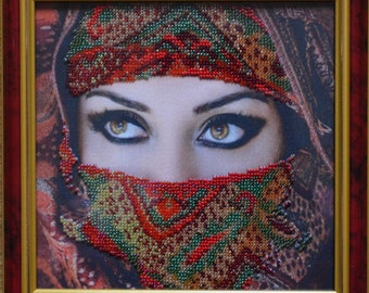 """Bead Embroidery Picture """"Mysterious eyes"""""""
