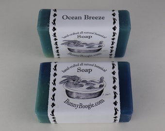 Gift for Bunny Owner, Gift for Animal Lover, 2 large Soap Bars, Hand-crafted Soap, Ocean Breeze Soap, Botanical Soap, Bunny Boogie, USA