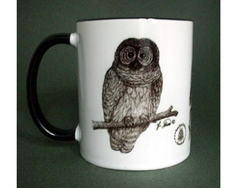 Owl Sketches, Perfect gift Bird Lover, Prints of Owl drawings, 3 Drawings on 1 Mug, Barred Owl, Saw-Whet Owl, Great Horned Owl, Bunny Boogie
