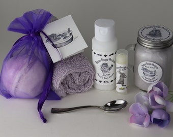 Spa Box, Gift Box for Mom, Skin Care Gift Set, Skin Care Products, Lavender Sachet, Postcards, All Natural Lip Balm, Hand Butter, Soap Bar