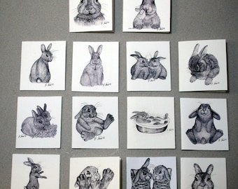 14 gift tags, cute bunny art, bunny gift tag, print of original art, prints of Rabbit Sketches, Bunny Boogie Made in USA