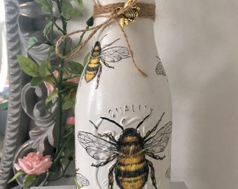 Bumble Bee Bottle Vase Home Decor Charm Queen