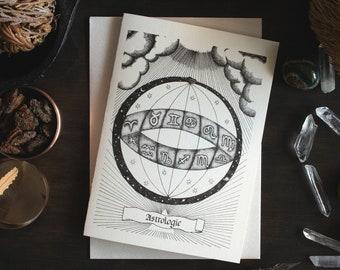 Astrological Illustration Risograph Greeting Card