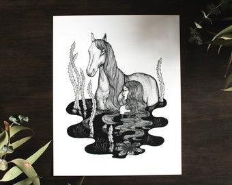 "The Water Kelpies Giclee Fine Art Print 8 x 10"""