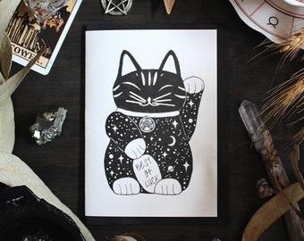 Good Luck Cat Maneki Neko Risograph Greeting Card