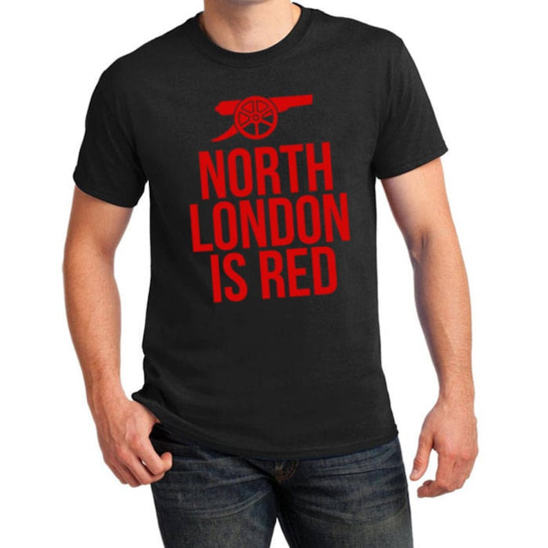 9c4e56273 Arsenal Inspired North London is Red Soccer Tee Black | Etsy