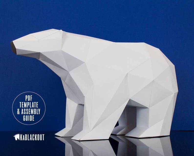 Polar Bear Papercraft Papercraft Bear Low Poly Polar Bear image 0