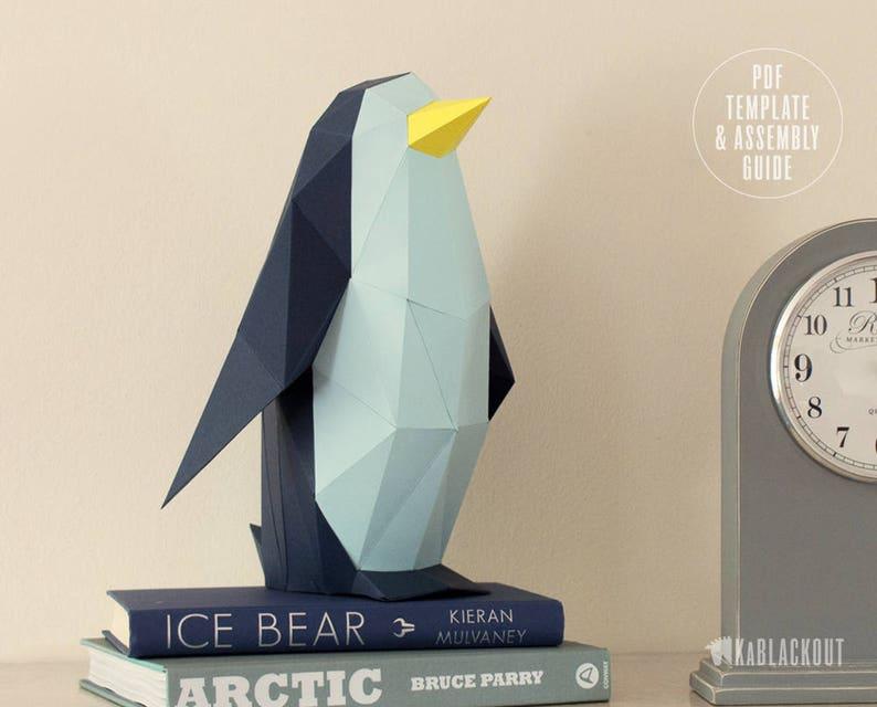 Penguin Papercraft Template DIY Paper Penguin Low Poly image 0