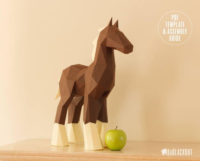 Papercraft Horse Template DIY Horse Papercraft DIY Pony image 0