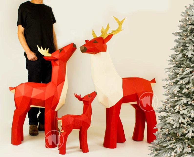 Deer Papercraft Bundle Papercraft Deer Templates Papercraft image 0