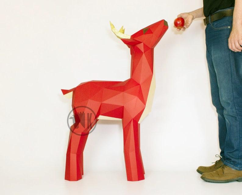 Deer Papercraft Template Printable PDF Reindeer Pattern Low image 0