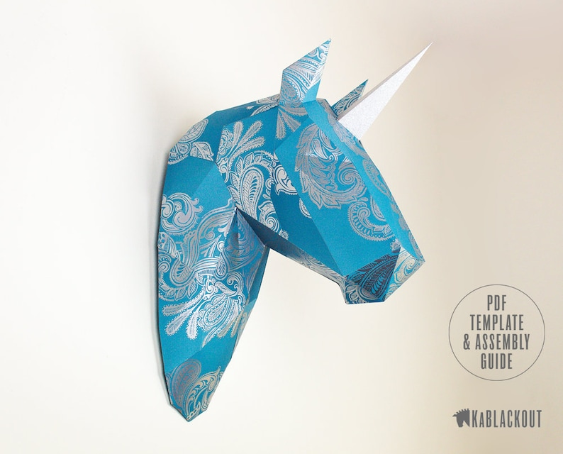 Unicorn Trophy Low Poly Unicorn Papercraft Template image 0