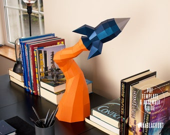 Low Poly Papercraft Rocket   Paper Rocket Desk Decor   Paper Craft Spaceship   Blast Off Rocket - Printable PDF Template Download