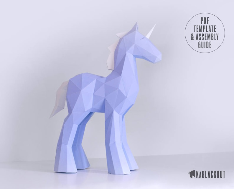 image relating to Unicorn Stencil Printable named Papercraft Unicorn Template, Do it yourself Unicorn Papercraft, Small Poly Unicorn Sculpture, Unicorn Decor, 3D Paper Unicorn - Printable PDF Template