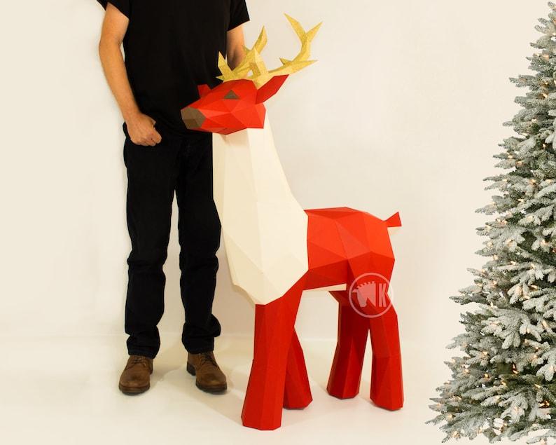 XL Papercraft Deer Stag Template Low Poly Papercraft Deer image 0