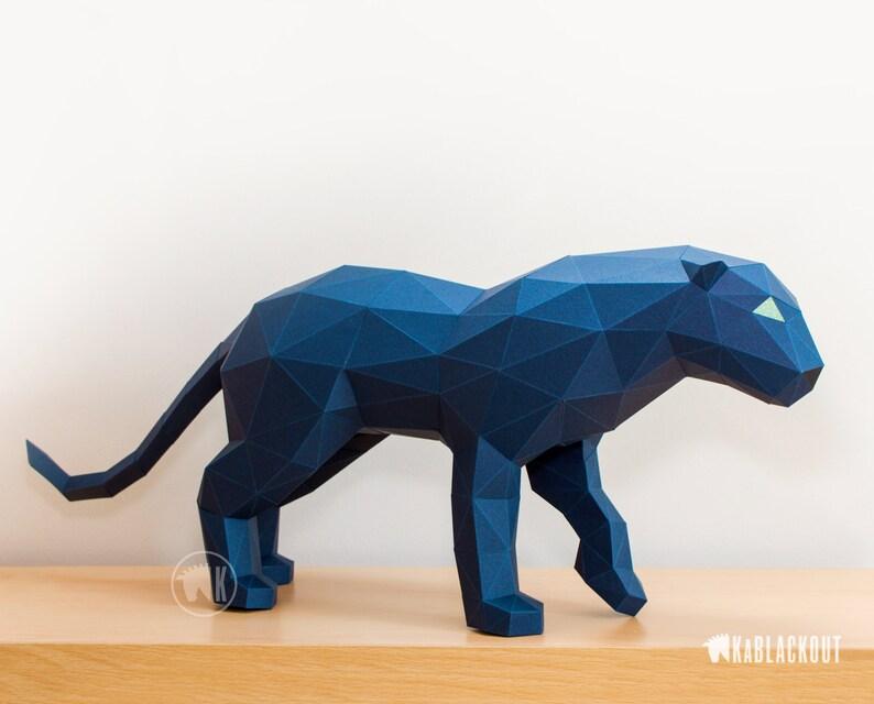 Panther Papercraft Template Papercraft Panther Polygonal image 0