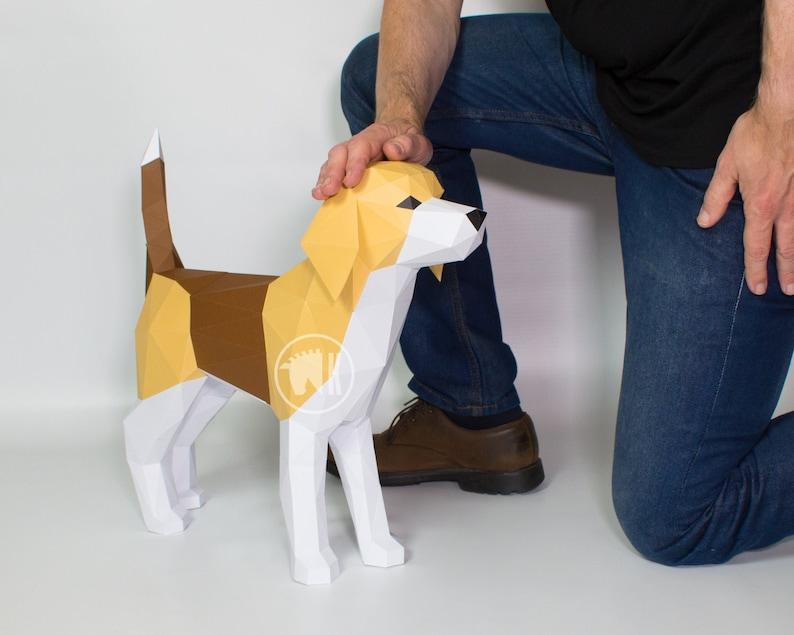 Beagle Papercraft Template Papercraft Dog DIY Beagle image 0