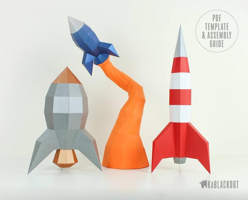 Rocket Papercraft Bundle Offer Rocket Template Pack DIY image 0