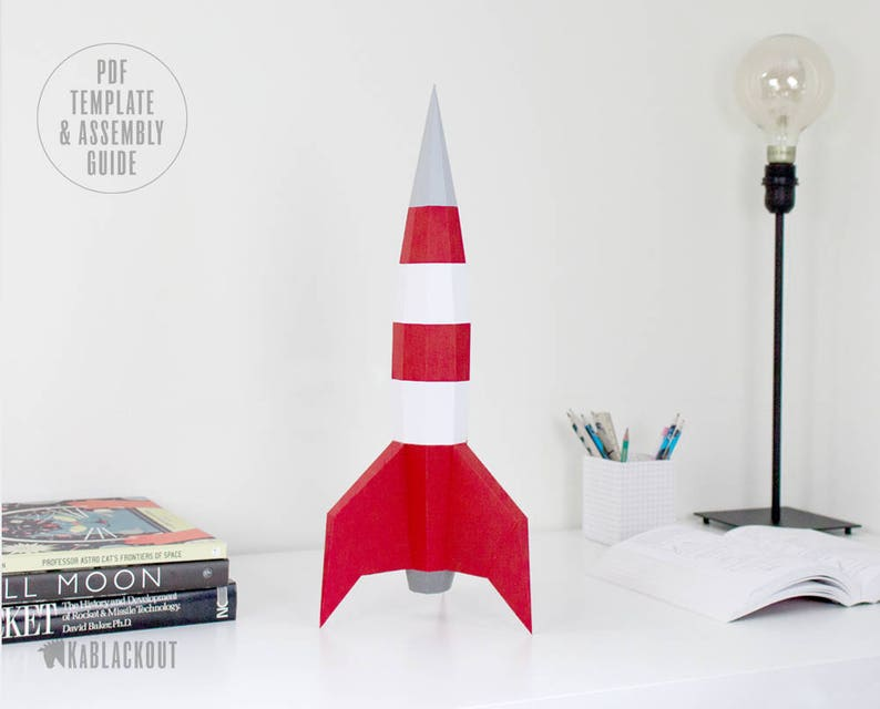 image about Rocket Printable titled Papercraft Rocket Template, Do-it-yourself Rocket, Small Poly Rocket, 3D Origami NASA Spaceship, Region Paper Craft, Table Decor - PDF Printable Down load