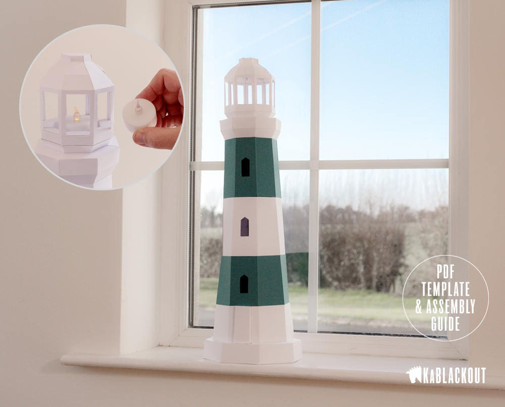 Lighthouse Papercraft, Low Poly Lighthouse Template, DIY Tea Light ...
