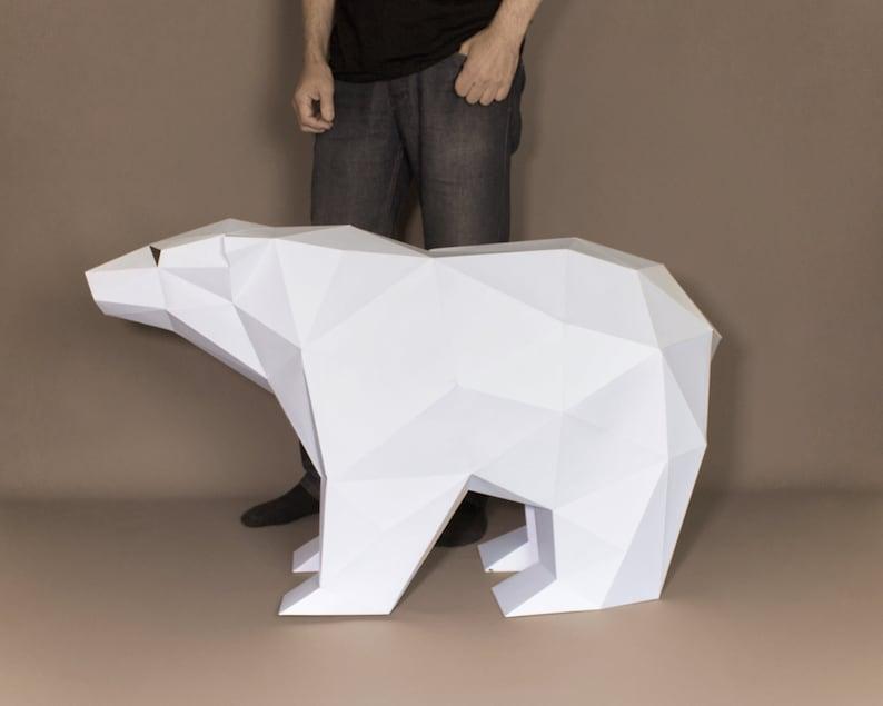 XL Polar Bear Template Polar Bear Papercraft Pattern DIY Low image 0