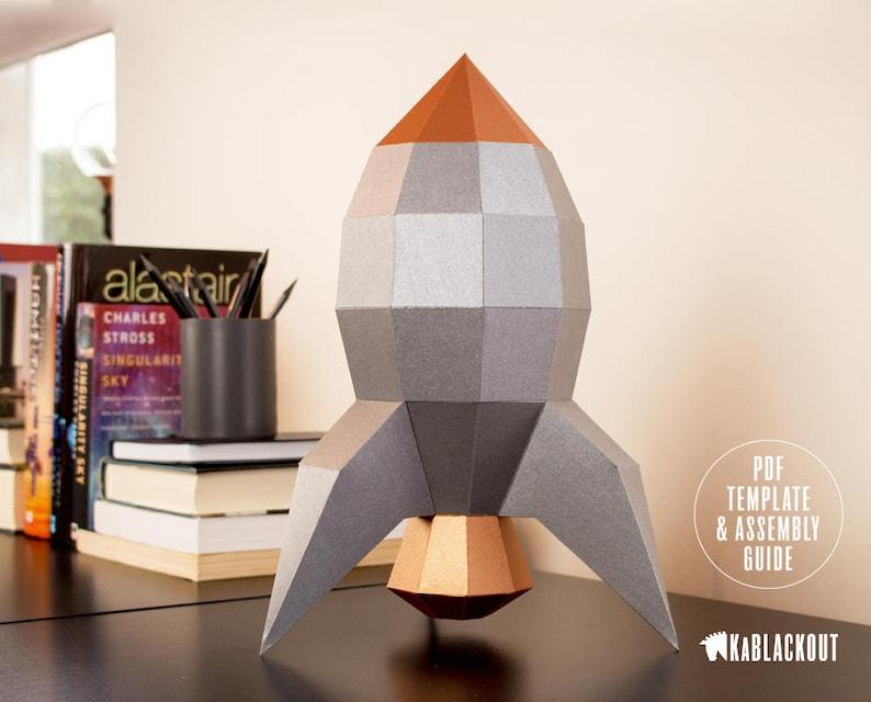 Rocket Papercraft Template DIY Papercraft 3D Rocket image 0