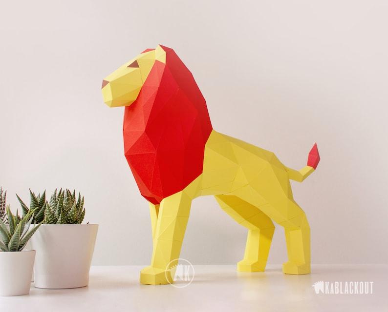 Lion Papercraft Template Papercraft Lion 3D Paper Lion image 0