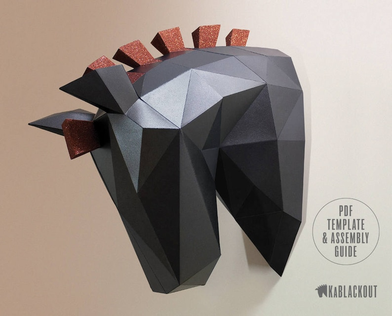 Low Poly Horse Papercraft Horse Trojan Horse Head Paper image 0