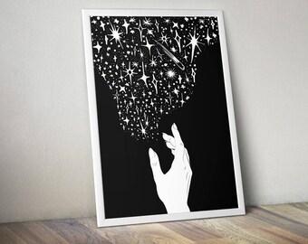 Make Magic, Digital Print | black and white art, minimal art print, celestial print, printable wall art, birthday gift, gift for her, stars