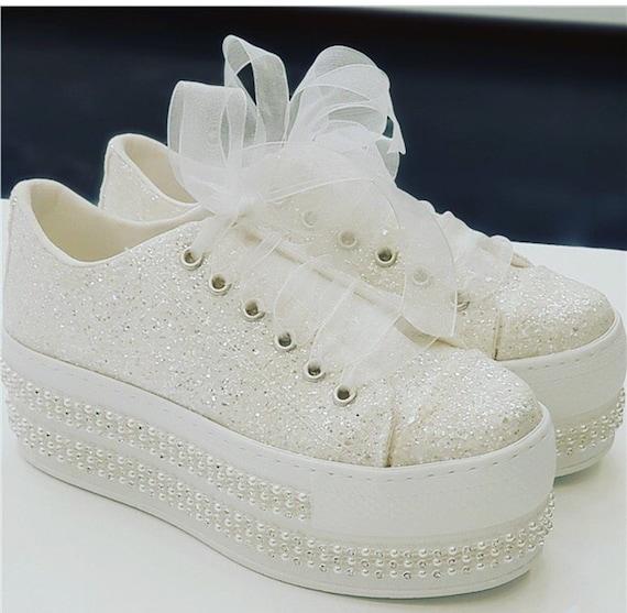Hochzeit Converse Hochzeitsschuhe Braut Sneakers Bling Etsy