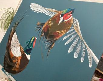 Original Art Pheasants Fighting Teal Dark