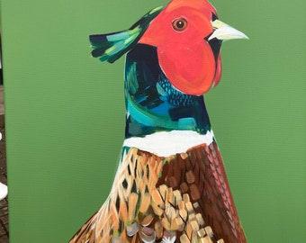 Original Art Ring Necked Pheasant Green