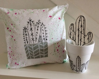 Hand painted original cushion inspired by cacti