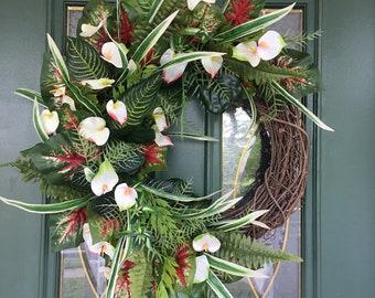 52ef33572d1d Tropical Wreath - Tropical Wreath for Front Door - Summer Wreaths for Front  Door - Summer Wreaths - Tropical Wreaths - Summer Door Wreaths